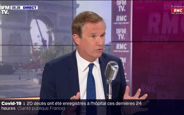 Nicolas Dupont-Aignan, président du parti Debout la France, sur le plateau de BFMTV, le 20 juillet 2021. (Crédit : capture d'écran BFMTV)