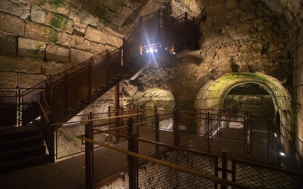Le nouveau parcours des visiteurs dans les tunnels du Mur occidental. (Yaniv Berman/Autorité des antiquités israéliennes)
