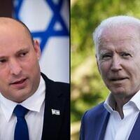 Le Premier ministre Naftali Bennett (à gauche) et le président américain Joe Biden. (Montage : AP/ Flash90)