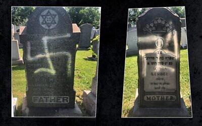 Plus d'une douzaine de pierres tombales ont été découvertes profanées dans les cimetières juifs de German Hill Road à Dundalk, dans le Maryland, pendant le week-end du 4 juillet. (Crédit : Eric L. Goldstein via JTA)