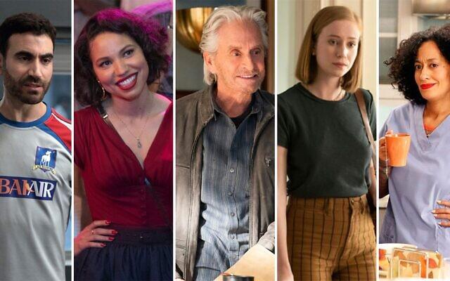 Les nominés des Emmys 2021 de gauche à droite : Brett Goldstein, Jurnee Smollett, Michael Douglas, Hannah Einbinder et Tracee Ellis-Ross. (Crédit : Apple TV, Netflix, HBO via JTA)
