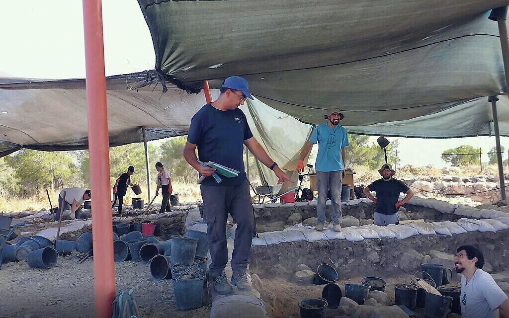 Saar Ganor, Autorité des Antiquités d'Israël, à Khirbet el Rai. (Crédit: Emil Aladjem, Autorité des Antiquités d'Israël)
