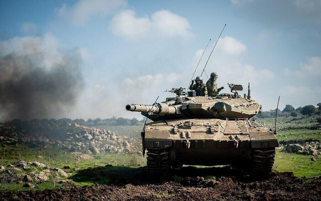Un char de Tsahal s'entraîne pour une guerre contre le Hezbollah dans le nord d'Israël, sur une photo non datée. (Tsahal)