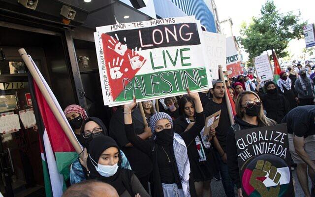 """Une femme brandit une pancarte indiquant """"Longue vie à la Palestine"""" lors d'une manifestation à Brooklyn, New York, le 31 juillet 2021. (Crédit : Kena Betancur / AFP)"""