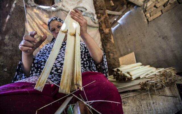 Une femme coupe le papyrus à l'aide d'un fil à l'atelier du village d'al-Qaramous dans la province de Sharqiyah, dans la région fertile du nord du delta du Nil en Égypte, à quelques kilomètres au nord-est de la capitale, le 28 juillet 2021. (Crédit : Khaled DESOUKI / AFP)