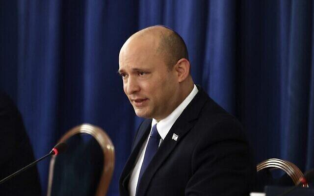 Le Premier ministre Naftali Bennett s'exprime lors de la réunion hebdomadaire du cabinet à Jérusalem le 8 août 2021. (Ronen Zvulun / Pool / AFP)