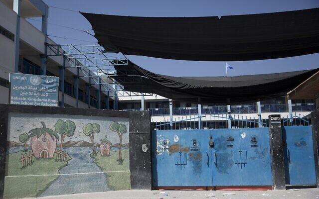 Photo d'illustration : Une école de l'UNRWA (United Nations Relief and Works) à Gaza City, le 24 septembre 2018. (Crédit :  AP Photo/Khalil Hamra)