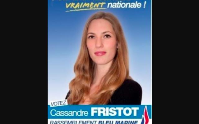 Cassandre Fristot, ancienne élue locale et ex-candidate FN aux législatives de 2012, sur une affiche de campagne.