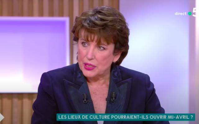 Roselyne Bachelot dans l'émission «C à vous» en mars 2021 sur France 5. (Crédit : capture d'écranC à vous / YouTube)