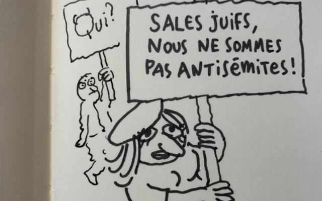Le dessin de Joann Sfar dénonçant l'antisémitisme censuré par Facebook et Instagram. (Crédit : Joann Sfar)