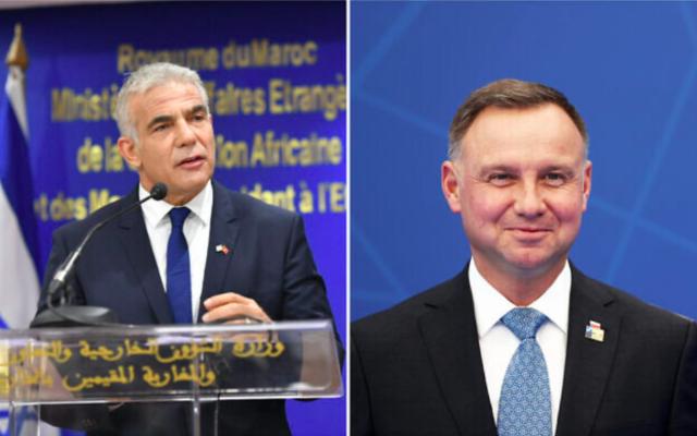 Le ministre des Affaires étrangères Yair Lapid (à gauche) s'exprime lors d'une cérémonie à Rabat, le 11 août 2021. Le président polonais Andrej Duda (à droite) arrive pour un sommet de l'OTAN à Bruxelles le 14 juin 2021. (Shlomi Amsalem/GPO ; Kenzo Tribouillard/Pool via AP)