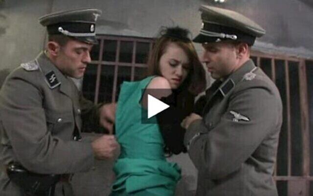 Capture d'écran d'une vidéo pornographique mettant en scène des officiers nazis et une Juive. (Capture d'écran : FOA via JTA)