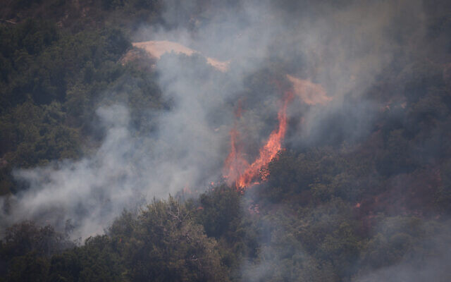 Les sapeurs-pompiers israéliens tentent d'éteindre un feu à proximité de Beit Meir, aux abords de Jérusalem, le 16 août 2021. (Crédit :  Yonatan Sindel/Flash90