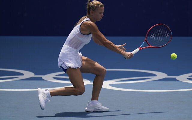 Camila Giorgi, Italie, a  joué contre Elina Svitolina, Ukraine, lors des quarts de finale de la compétition de tennis des Jeux olympiques d'été de 2020, mercredi 28 juillet 2021, à Tokyo, au Japon. (Crédit : AP Photo/Seth Wenig)