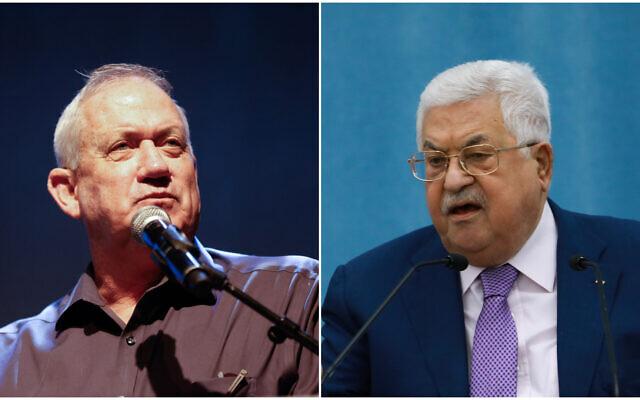 (Gauche) Le ministre de la Défense Benny Gantz assiste à une conférence dans la région d'Eshkol, dans le sud d'Israël, le 13 juillet 2021. (Droite) Le président de l'Autorité palestinienne Mahmoud Abbas prononce un discours concernant le COVID-19, au siège de l'Autorité palestinienne, dans la ville de Ramallah en Cisjordanie, le 5 mai 2020. (Flash90)