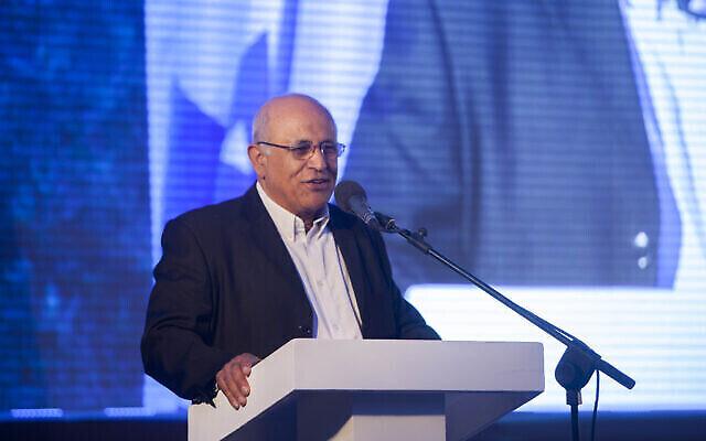 Avigdor Kahalani a pris la parole lors de la cérémonie de remise du prix Moskowitz pour le sionisme à Jérusalem, le 29 mai 2014. (Crédit : Yonatan Sindel/Flash90)