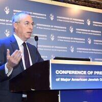 Le général de brigade (de réserve) Michael Herzog, Senior Fellow, The Jewish People Policy Planning Institute lors de la réunion de la Conférence des présidents à Jérusalem, le 15 février 2016 (Crédit : Tamir Hayoun).
