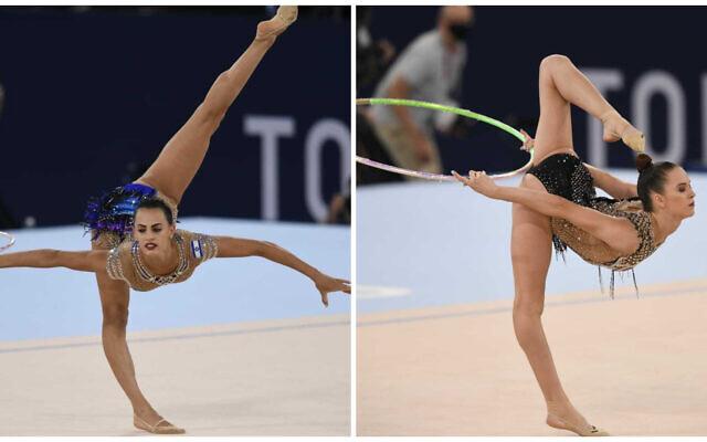Linoy Ashramà gauche, et Nicol Zelikman, à droite, pendant l'épreuve de gymnastique rythmique aux Jeux olympiques de Tokyo 2020, le 6 août 2021. (Crédit :  Comité olympique israélien)