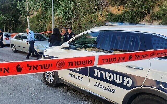Illustration : la police israélienne enquête sur la scène d'un crime, le 2 juin 2021 (Crédit : Police israélienne)