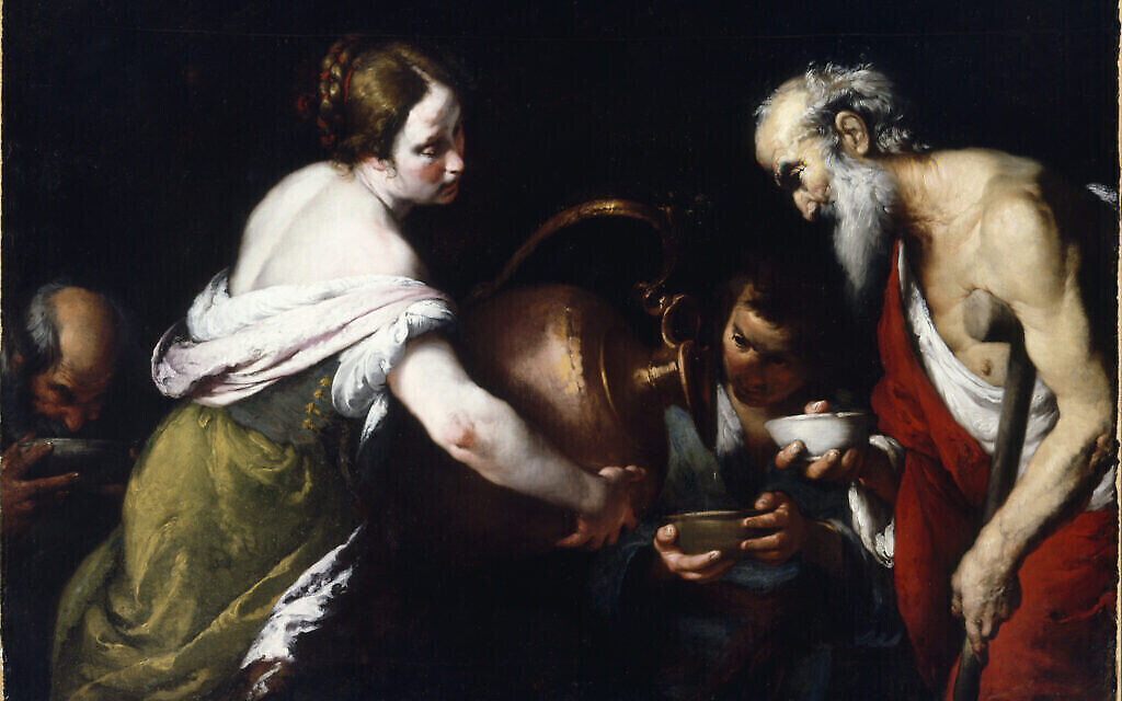 """Bernardo Strozzi, """"Un acte de miséricorde : Donner à boire à l'assoiffé, peint dans les années 1620. (Crédit :  (John and Mable Ringling Museum of Art, the State Art Museum of Florida, Florida State University, Sarasota/ Jewish Museum NYC)"""