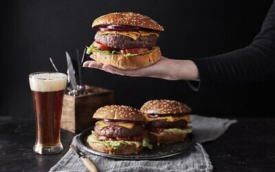 Alternative beef burgers made from plant-based materials by Redefine Meat. (Courtesy, Redefine Meat)