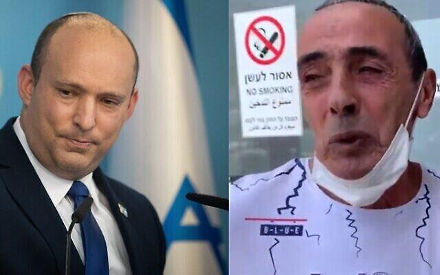 Le Premier ministre Naftali Bennett (à gauche) et Yossi Shmueli, le père du soldat blessé Barel Shmueli. (Crédits : Flash90/Capture d'écran)