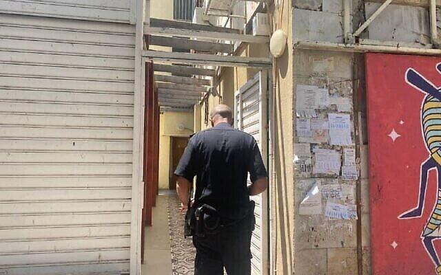 La police sur le lieu de la fusillade à Haïfa, le 21 août 2021. (Police israélienne)