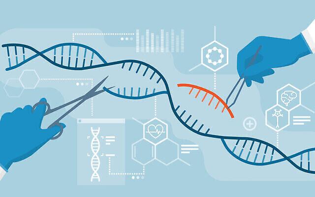 Des scientifiques analysent l'hélice d'ADN et éditent le génome à l'intérieur des organismes, une technologie CRISPR. (Elenabs via iStock par Getty Images)