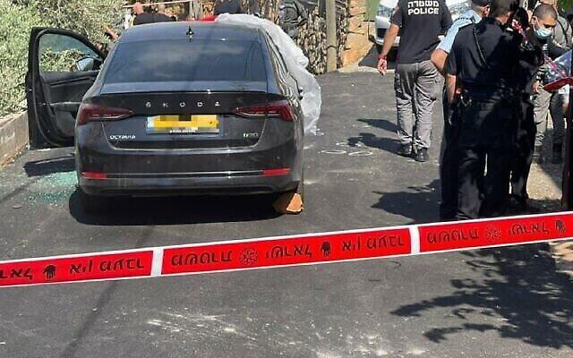 La scène du meurtre de Shara Ismail, 50 ans, à Rameh, le 15 août 2021. (Crédit : Police israélienne)