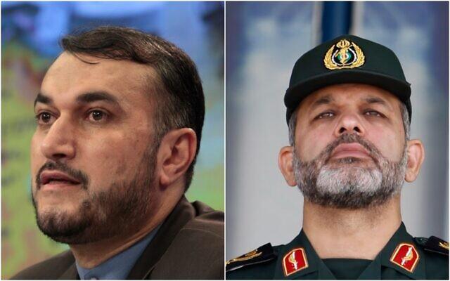 De gauche à droite : Hossein Amirabdollahian et le général Ahmad Vahidi. (AP Photos/Misha Japaridze, Vahid Salemi, File)