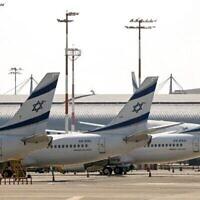Des avions d'El Al sur le tarmac de l'aéroport Ben Gourion, le 3 août 2020. (Jack Guez / AFP)