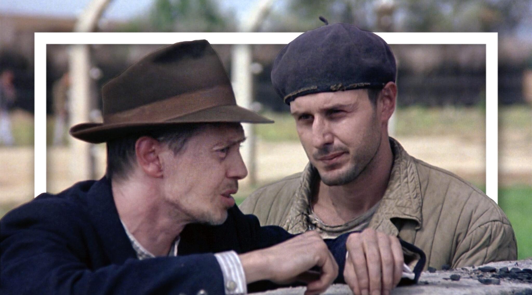 Steve Buscemi et David Arquette dans 'The Grey Zone' (Capture d'écran via Lionsgate Entertainment; Photo illustration by Grace Yagel via JTA)