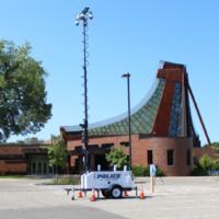 La police a installé une caméra à la synagogue Beth El à St. Louis Park, Minnesota, le 10 septembre 2021. (Lonny Goldsmith/TC Jewfolk via JTA)
