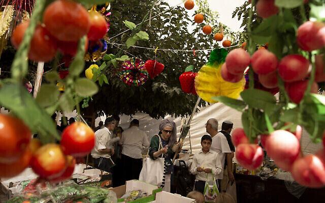 Des gens font leurs courses pour les rituels de Souccot, à Jérusalem, le 20 septembre 2021. (Crédit : AP Photo/Maya Alleruzzo)