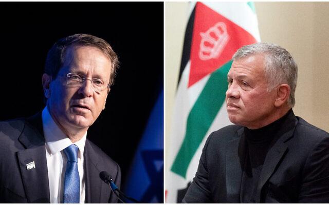 Le président Isaac Herzog, à gauche, parle pendant une conférence à Jérusalem, le 1er août 2021 ; le roi de Jordanie Abdallah II, à droite, lors d'une rencontre avec le secrétaire d'État américain Antony Blinken à Amman, en Jordanie, le 26 mai 2021. (Crédit :  Yonatan Sindel/Flash90; AP/Alex Brandon, Pool)