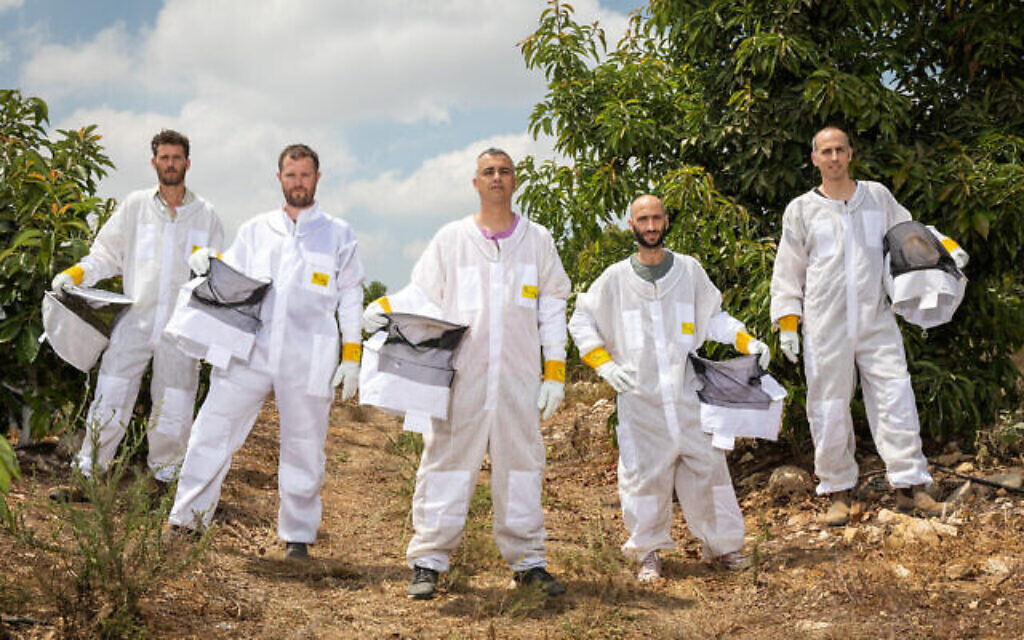 Les fondateurs de Beewise, de gauche à droite : Hillel Schreier, Eliyah Radzyner, Saar-Safra, Yossi Surin, Boaz Petersil. (Crédit : Beewise)