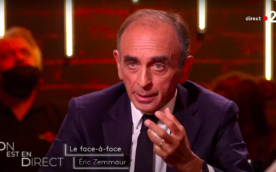 Eric Zemmour sur le plateau de l'émission «On est en direct» sur France 2, le 11 septembre 2021. (Crédit : Capture d'écran On est en direct / France 2)