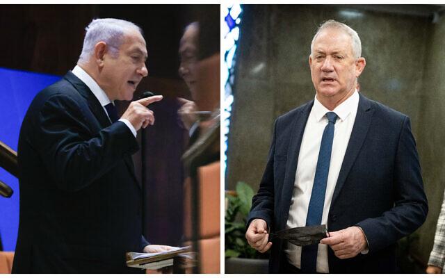 Le leader de l'opposition Benjamin Netanyahu, à gauche, et le ministre de la Défense Benny Gantz (Crédit : Olivier Fitoussi, Yonatan Sindel/Flash90)