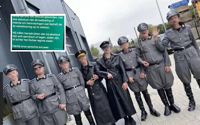 Des hommes portent des uniformes nazis lors d'une manifestation du COVID-19 dans la ville néerlandaise d'Urk, le 10 septembre 2021. ('Hart van Nederland' via JTA)