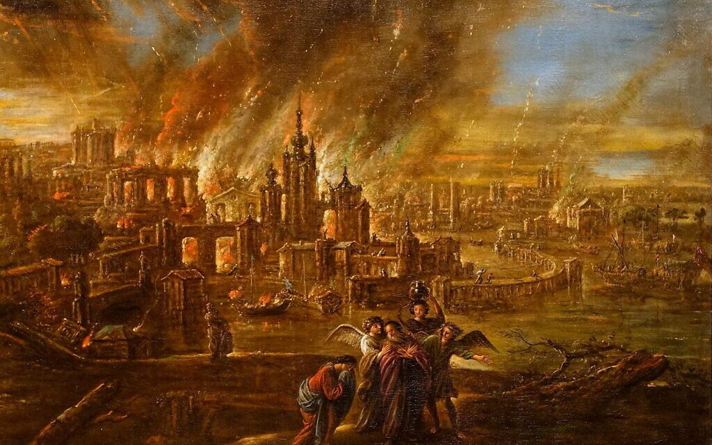 Sodome et Gomorrhe en feu par Jacob de Wet II, en 1680 (Crédit : Creative commons)