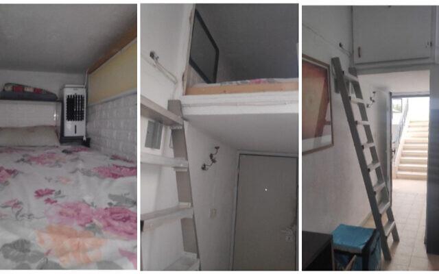 Un espace de stockage surélevé proposé à la location comme un endroit pour dormir, au lieu d'une chambre normale, dans une colocation de Tel Aviv. (Crédit : Facebook)