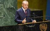 Le président turc Recep Tayyip Erdogan prend la parole lors du rassemblement annuel à New York pour la 76e session de l'Assemblée générale des Nations Unies, le 21 septembre 2021, à New York. (Pool/Getty Images North America/Getty Images via AFP)