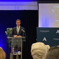 L'ancien fonctionnaire de la Maison Blanche, Jared Kushner, s'exprime lors d'un événement à Washington marquant le premier anniversaire des accords d'Abraham, le 14 septembre 2021. (Jacob Magid/Times of Israel)
