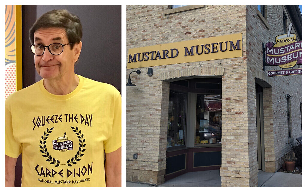 Barry Levenson (à gauche) et son musée de la moutarde. (Autorisation : Levenson / Wikimedia commons / via JTA)