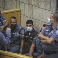 Mahmoud al-Arida est vu lors d'une audience au tribunal de district de Nazareth, le 11 septembre 2021. (David Cohen/Flash90)