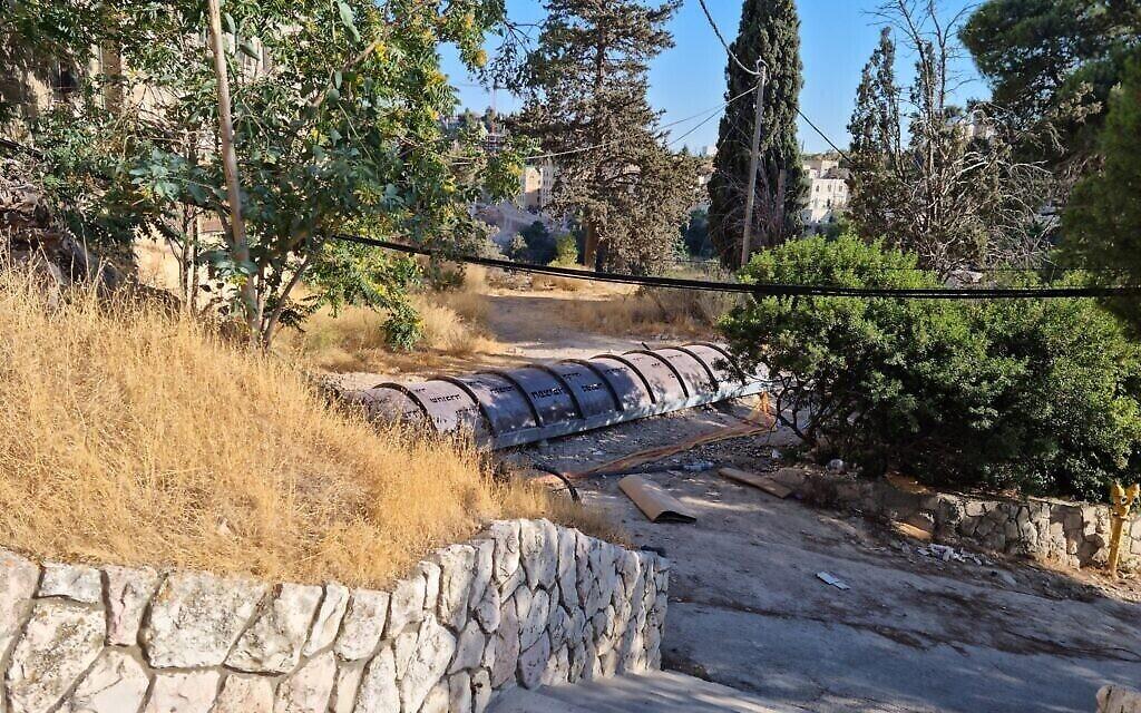 Le tunnel restauré du mont Sion, sous l'Institut des études en terre sainte de l'université de Jérusalem. (Crédit : Shmuel Bar-Am)
