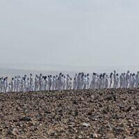 Les 200 participants nus qui ont posé pour le photographe américain Spencer Tunick à la mer Morte, le 17 octobre 2021 (Crédit : Irit Eshet Mor)