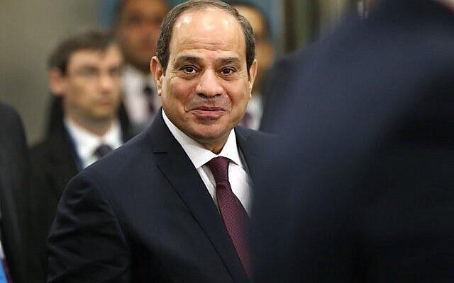 Le président égyptien Abdel-Fatah al-Sisi arrive pour prendre la parole à l'Assemblée générale des Nations Unies le 24 septembre 2019 à New York. (Crédit : Spencer Platt/Getty Images/AFP)