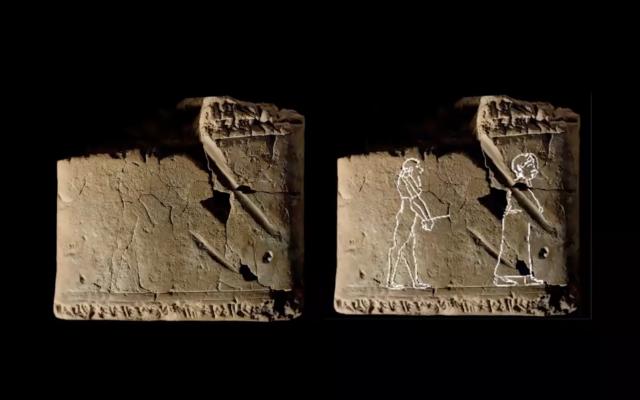 Un esprit emmené dans l'au-delà par une femme sur une tablette en argile de l'ère babylonienne. (Capture d'écran / Youtube/Archaeology Now)