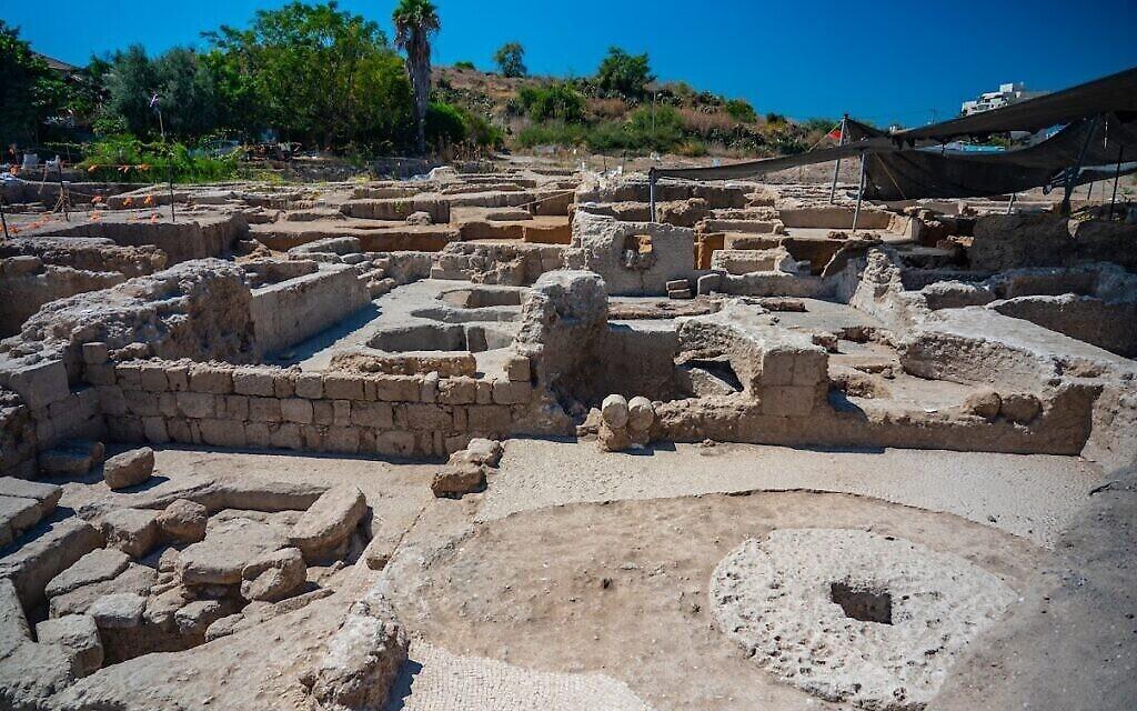 Les pressoirs de l'ère byzantine découverts à Yavné. (Crédit : Yaniv Berman/IAA)